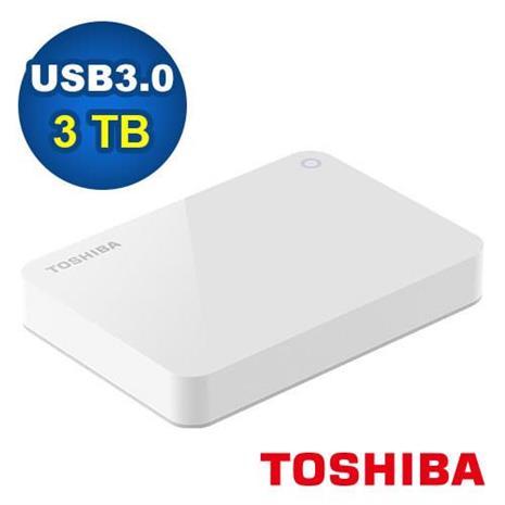 Toshiba 2.5吋 V9 3TB USB3.0 外接式硬碟 白