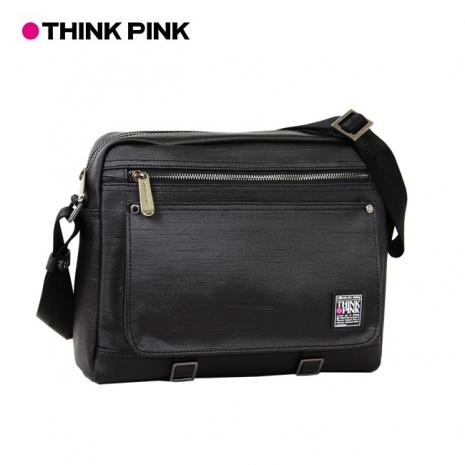 【THINK PINK】原創覺醒II 簡約風潮 大型斜背包-黑
