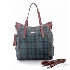 ~Sandia Polo ~ 復刻綠色格紋~2way拼接配色剪接手提包斜背包