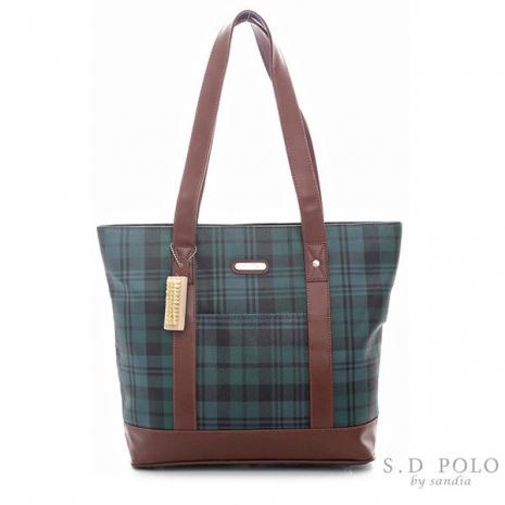 【Sandia Polo】 經典綠色格紋-托特包/側肩包