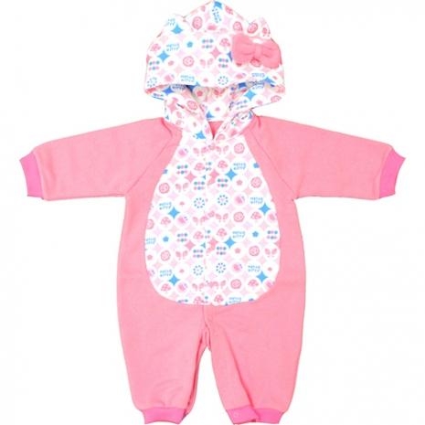 【BabyTiger虎兒寶】三麗鷗 HELLO KITTY 日式和風花布連帽兔裝 (深粉)