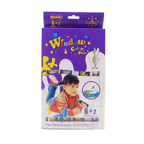 【BabyTiger虎兒寶】愛玩色 兒童無毒彩繪玻璃貼-盒裝組 6+2 色-台灣製-特賣