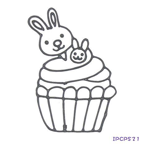 【BabyTiger虎兒寶】MIT兒童無毒DIY彩繪玻璃貼 -配件 小張圖卡-兔子蛋糕