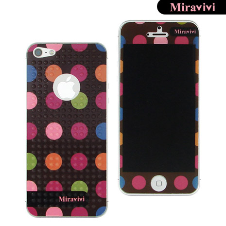 Miravivi iPhone 5 繽紛巧克力豆豆時尚雙面彩繪保護貼-黑巧克力