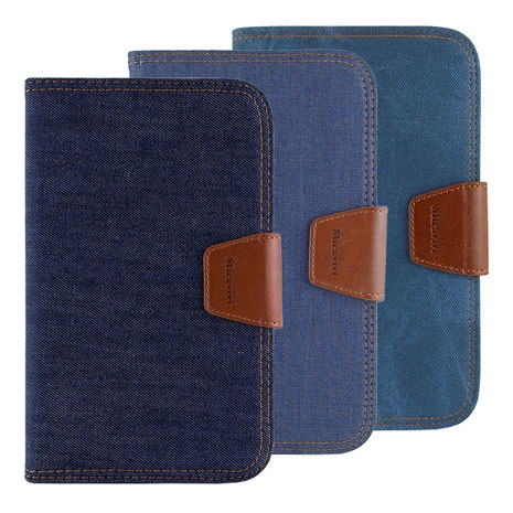 Miravivi Samsung Galaxy Tab3 7.0吋 時尚個性復古牛仔側立筆記本皮套深藍