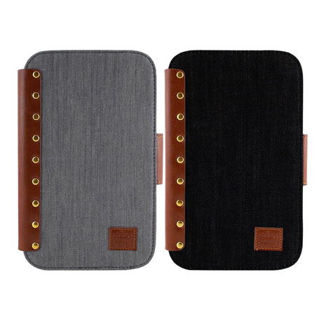 Miravivi Samsung Galaxy Tab3 7.0吋 時尚個性鉚釘牛仔側立筆記本皮套淺灰