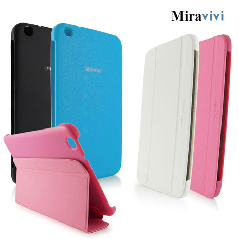Miravivi Samsung Galaxy Tab3 8.0吋經典三折薄型側立皮套純潔白
