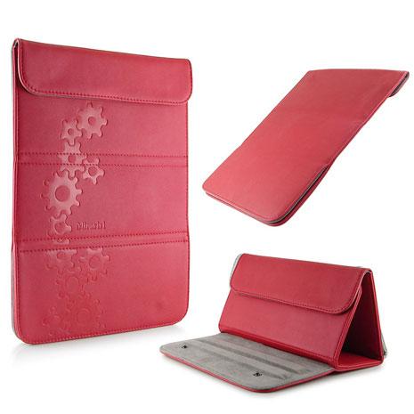 Miravivi 信封造型10吋多功能可立式齒輪壓花皮革平板保護包-熱情紅-手機平板配件-myfone購物