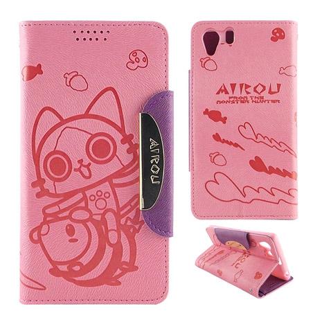 AIROU 艾路貓 SONY Xperia Z1 撞色壓紋可立皮套-甜美粉