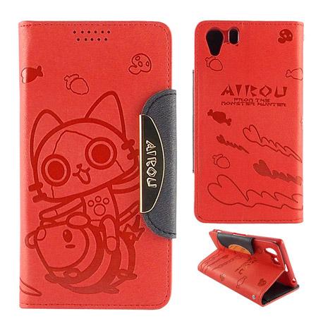 AIROU 艾路貓 SONY Xperia Z1 撞色壓紋可立皮套-個性紅
