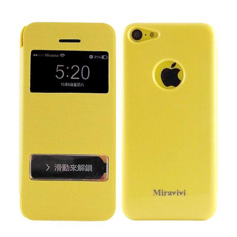 Miravivi iPhone 5C 繽紛糖果色開窗觸控接聽式皮套-活力黃