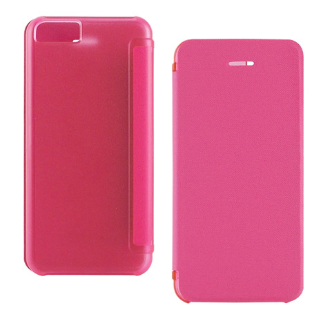 Miravivi iPhone 5c 繽紛糖果色薄型側開皮套-蜜桃紅