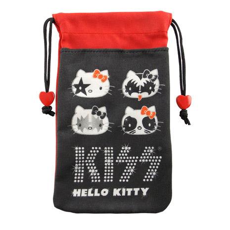 【KISS HELLO KITTY 】4.7吋通用時尚雙層收納束口袋-搖滾KISS