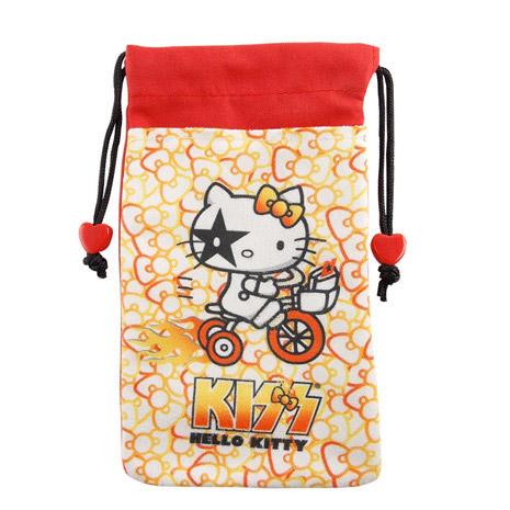 【KISS HELLO KITTY 】4.7吋通用繽紛雙層收納束口袋-蝴蝶結腳踏車-手機平板配件-myfone購物