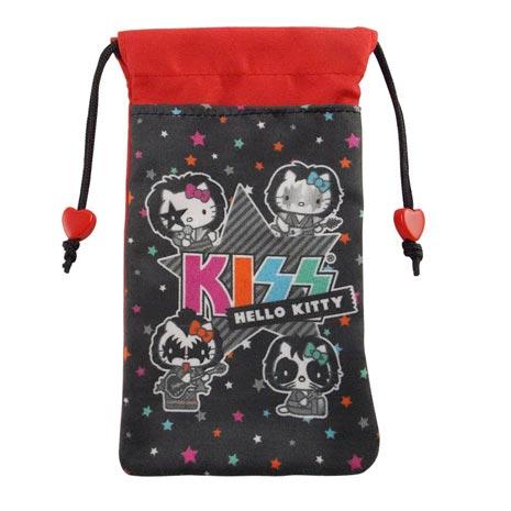 【KISS HELLO KITTY 】4.7吋通用搖滾雙層收納束口袋-星星KISS