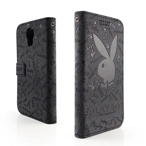 PLAYBOY Samsung GALAXY J 時尚壓紋可立皮套-時尚黑