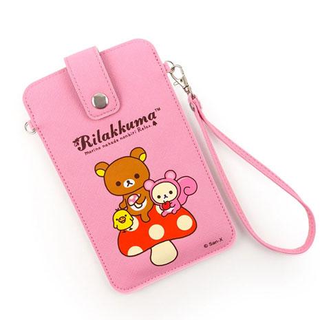 Rilakkuma 拉拉熊/懶懶熊 5吋通用彩繪皮革手機袋-蘑菇好朋友