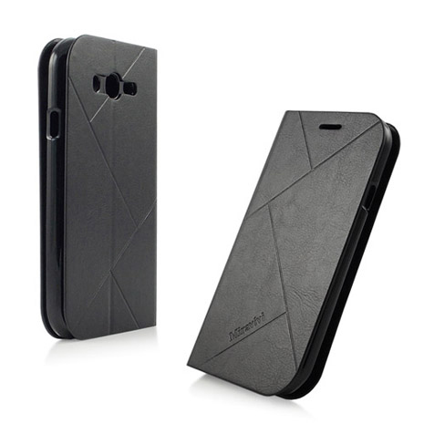 Miravivi Samsung GALAXY GRAND Neo 可立式簡約壓紋側掀式皮套-時尚黑