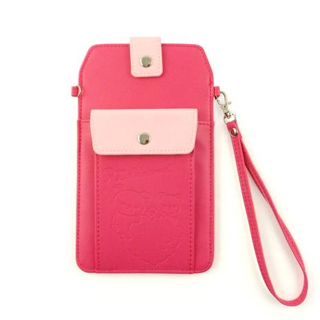 Rilakkuma 拉拉熊/懶懶熊 6.3吋通用撞色雙層壓紋手機袋-蜜桃紅
