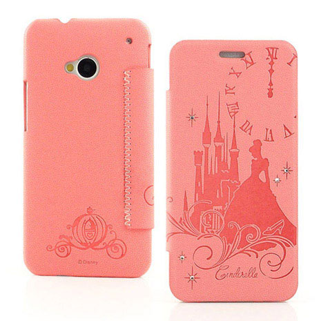 Disney NEW HTC ONE (M7) 公主系列Cinderella灰姑娘時尚水鑽壓紋皮套