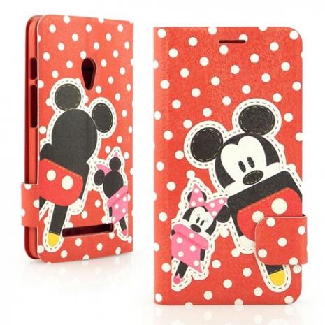Disney  ASUS ZenFone 5 可愛玩偶米奇米妮時尚彩繪皮套-米奇