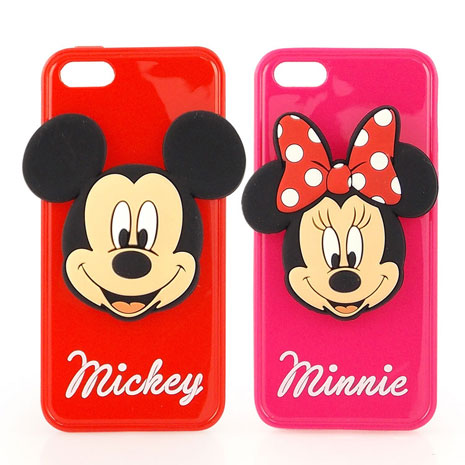 Disney iPhone 5/5s 時尚大頭造型捲線保護套-米奇/米妮