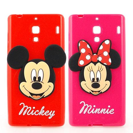 Disney Xiaomi 紅米機 時尚大頭造型捲線保護套-米奇/米妮