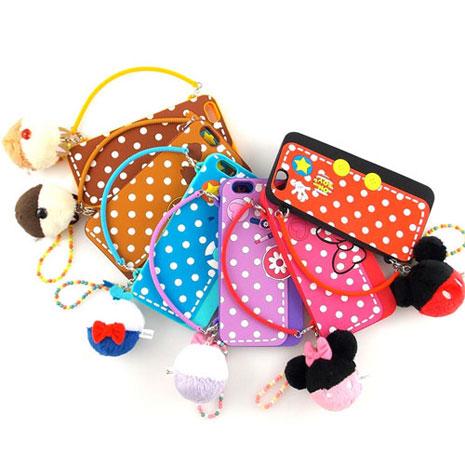 Disney iPhone 6s Plus/6 Plus 時尚立體手提包造型毛球吊飾保護套米奇