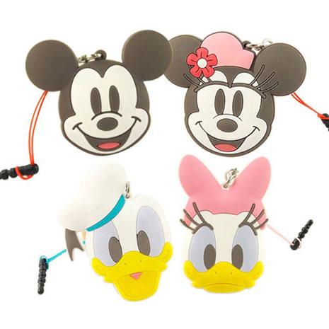 Disney 多功能可愛造型夾子式耳機防塵塞捲線器吊飾-復古系列