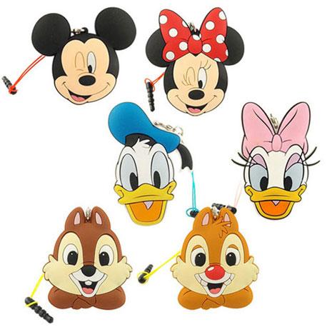 Disney 多功能可愛造型夾子式耳機防塵塞捲線器吊飾-經典系列