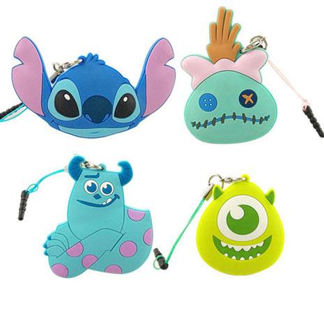 Disney 多功能可愛造型夾子式耳機防塵塞捲線器吊飾-經典系列大眼仔