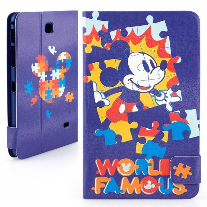Disney Samsung Galaxy Tab 4 7.0 (Tab4 7.0/T2397共用)可愛拼圖米奇彩繪側掀可立式皮套