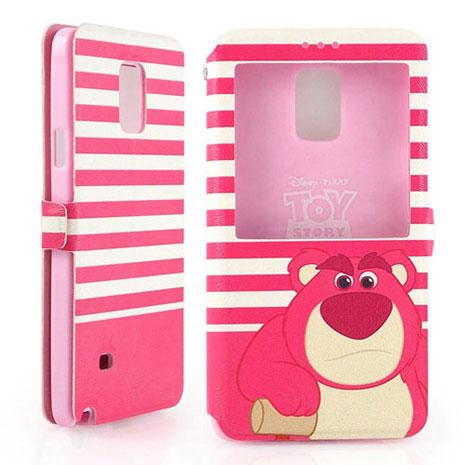 Disney Samsung Galaxy Note 4 時尚條紋熊抱哥透視視窗可立式皮套