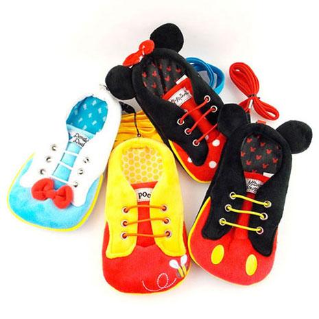 Disney 4.7吋通用可愛角色布鞋造型直入式票夾手機袋-米奇/米妮/維尼/唐老鴨
