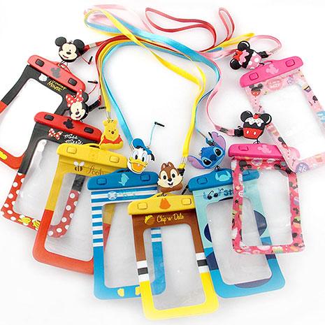 Disney 5吋通用可愛繽紛手機防水袋(附夾子捲線器耳機塞)史迪奇