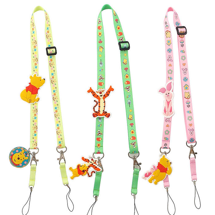 Disney 可愛造型零件手機袋吊繩/識別證帶-維尼系列