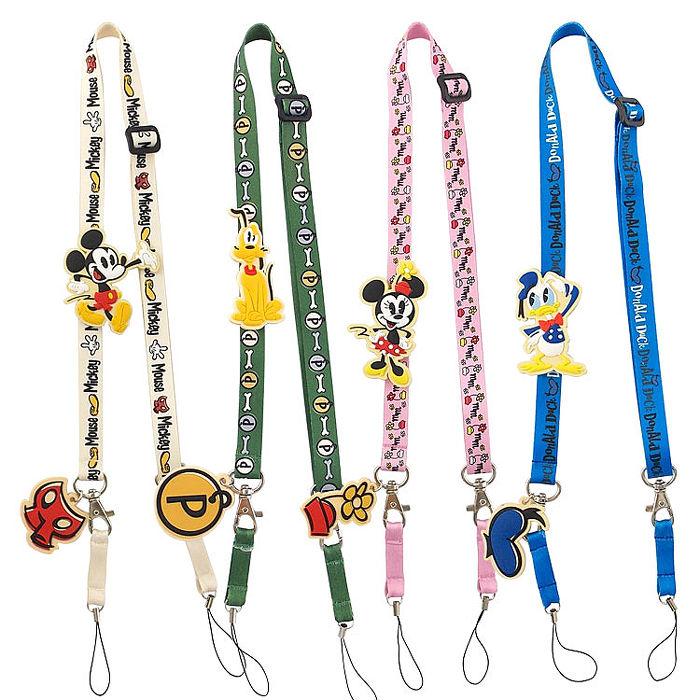 Disney 可愛造型零件手機袋吊繩/識別證帶-米奇歡笑多系列