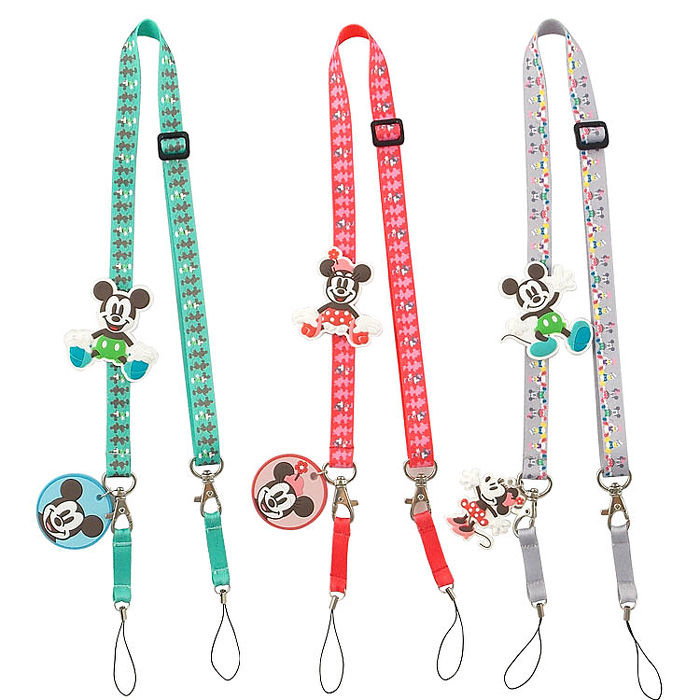 Disney 可愛造型零件手機袋吊繩/識別證帶-復古系列