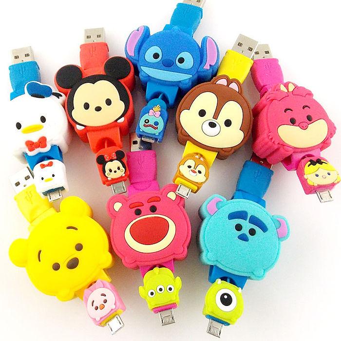 Disney TSUM TSUM Micro USB 造型伸縮傳輸線米奇