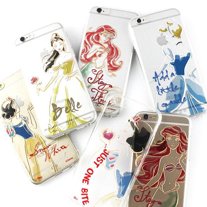 Disney iPhone 6s/6 彩繪金色/珠光白透明雙料保護殼-公主系列小美人魚