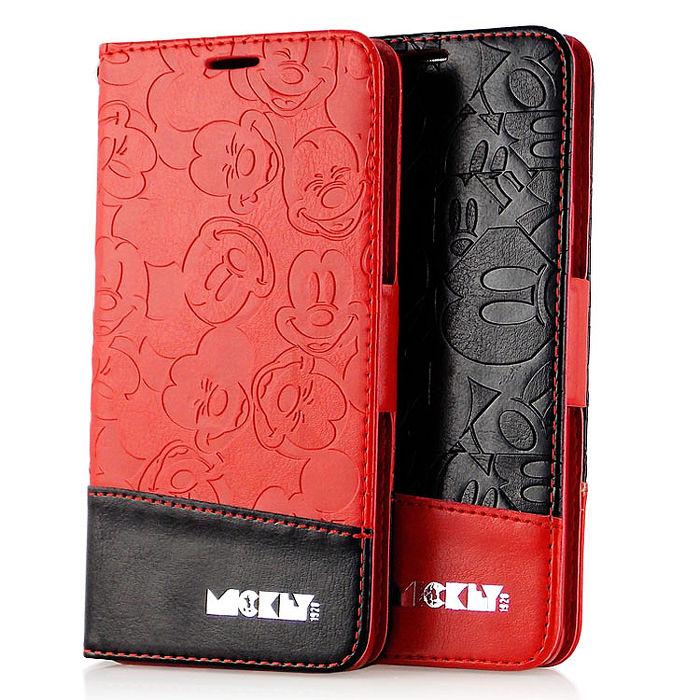 Disney Samsung Galaxy Note 5 米奇撞色壓紋側掀可立式皮套熱情紅