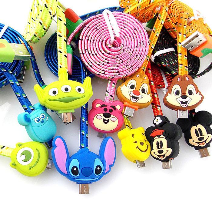 Disney Micro USB 多色Micro USB 編織傳輸線毛怪