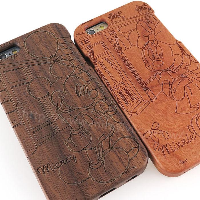 Disney iPhone 6s Plus/6 Plus 原木/木頭雷雕保護殼/手機殼-米奇米妮