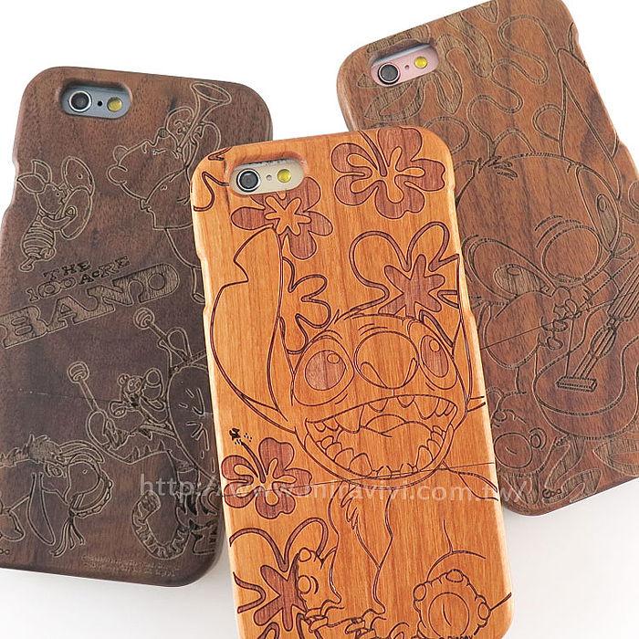 Disney iPhone 6s Plus/6 Plus 原木/木頭雷雕保護殼/手機殼-可愛系列