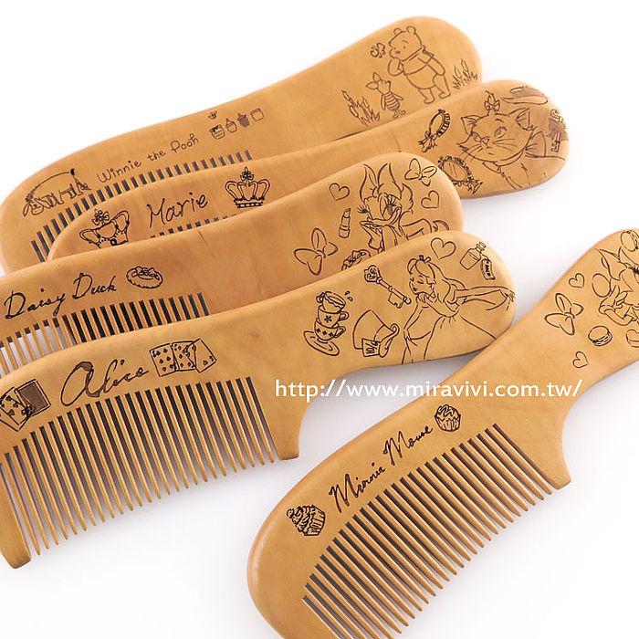 Disney時尚質感造型原木木頭手拿梳/梳子/隨身梳維尼