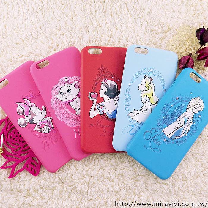 【Disney】迪士尼iPhone6 Plus / 6S Plus施華洛世奇水鑽5.5皮革保護殼-公主系列6.6S-白雪公主
