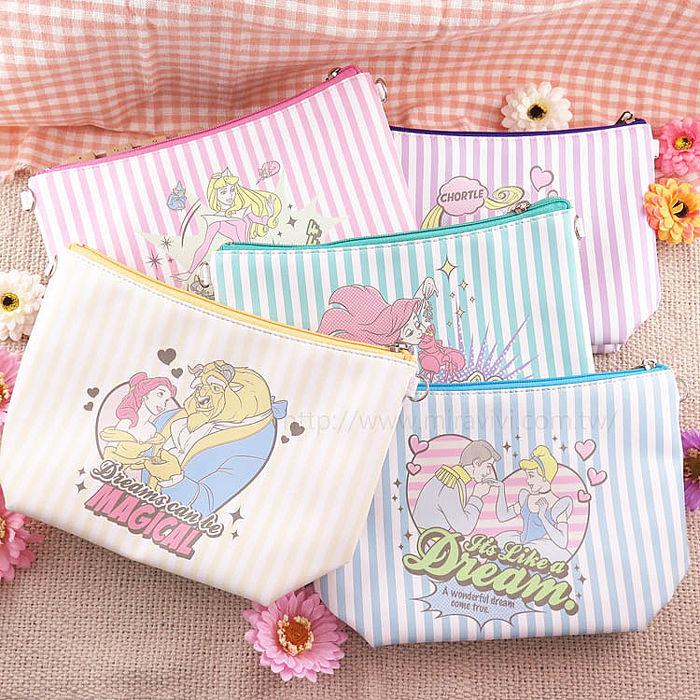 【Disney】迪士尼漫畫條紋公主系大容量化妝包/萬用包/斜背包/水餃包小美人魚