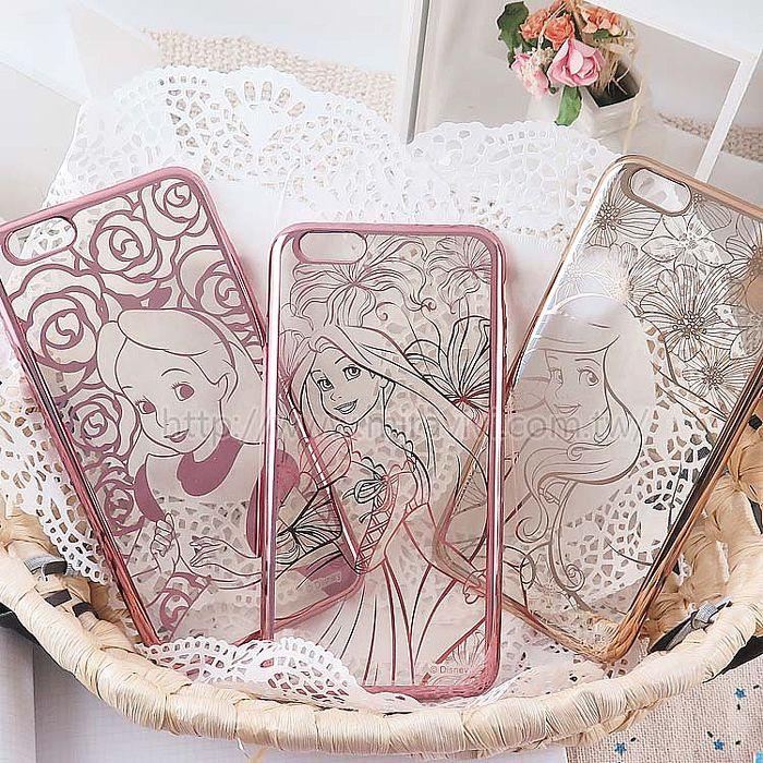 【Disney 】迪士尼iPhone 6/6S Plus時尚質感電鍍5.5吋保護套-公主系列6P.6SP長髮公主