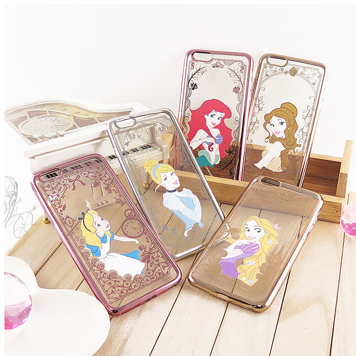 【Disney】迪士尼iPhone 6/6S Plus(5.5)電鍍彩繪保護套-公主系列樂佩