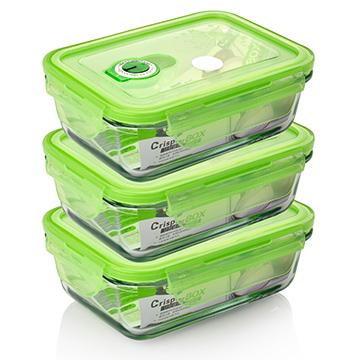 【品愛生活】長方型玻璃密封保鮮盒550ml三件組